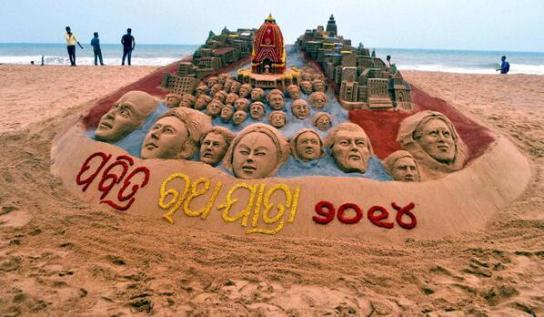 Sand Art of Lord Jagannath on 2014 Jagannath Rath Yatra Celebration