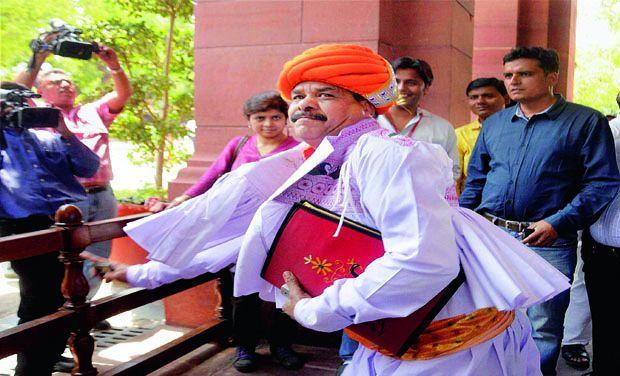 Surendranagar MP Devjibhai Fatehpura in Traditional Kathiyawadi Gujarati Dress at Lok Sabha Parliament in New Delhi