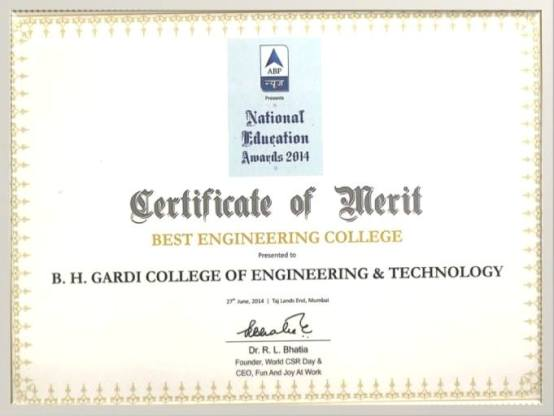 B.H. Gardi College of Engineering and Technology Honored the Best College National Education Award 2014 by ABP News Channel