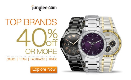 Branded Watched CASIO TITAN FASTRACK TIMEX on Heavy Discount Price at JUNGLEE.com Online Shopping Store