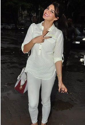 Jacqueline Fernandez in White Transparent Shirt