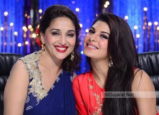 Madhuri Dixit Georgette Printed Saree Sleeveless Blouse of Ridhi Mehra in Jhalak 2014