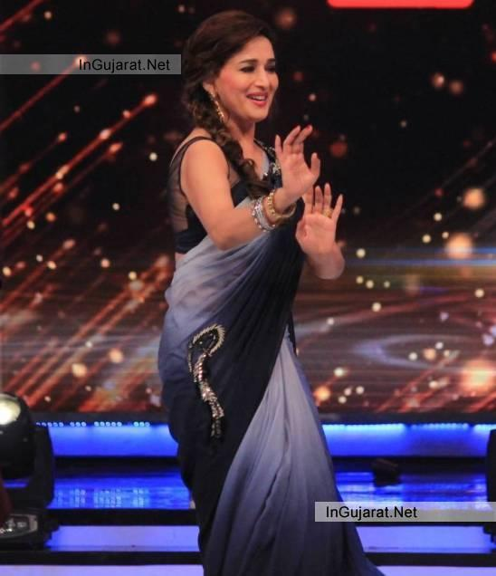 Madhuri Dixit in Sleeveless Blouse Hot Arms Pics in Blue Saree - Recent 2014 Images
