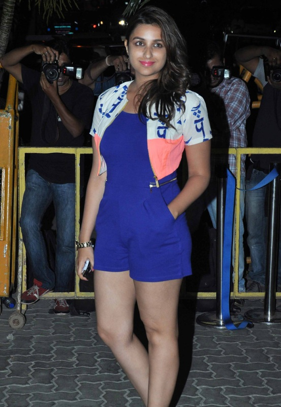 Parineeti Chopra in Jumpsuit Photos - Hot Legs Pics Sexy Thighs Show Images in Blue One Piece Dress with White Jacket at Karan Johars Birthday Party 2014