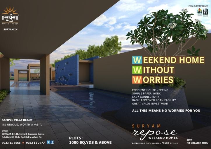 Suryam Repose Ahmedabad - Weekend Home in Ahmedabad by Suryam Developers