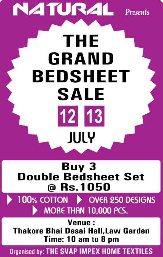 The Grand Bed Sheet Sale Ahmedabad on July 2014