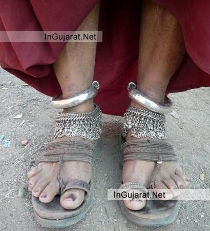Traditional Gujarati Ornaments on Kutchi Womens Feet