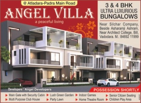 Angel Villa in Vadodara by Angel Developers - 3 BHK  4 BHK Ultra Luxurious Bungalows