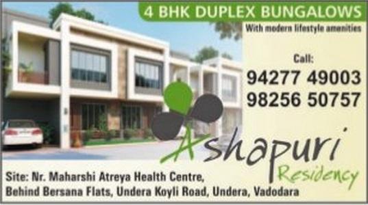 Ashapuri Residency in Vadodara - 4 BHK Duplex Bungalows at Undera Vadodara
