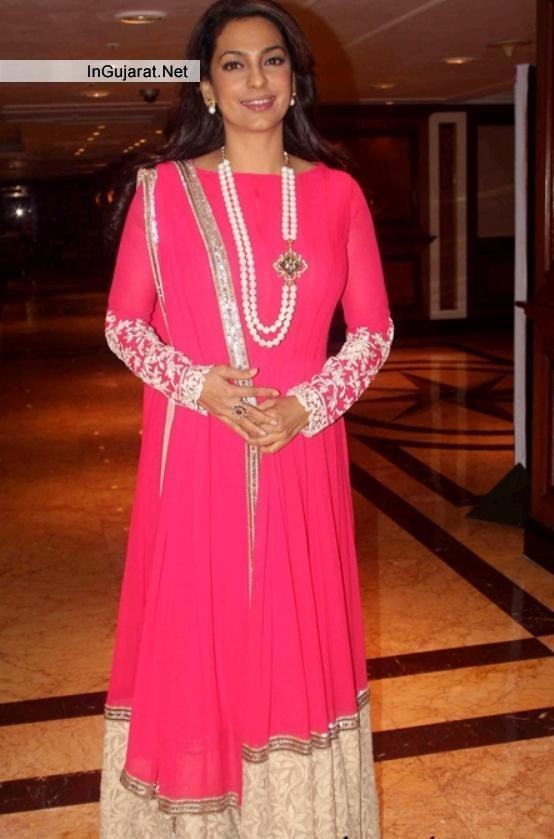 """Juhi Chawla in Radiant Pink Color Full Sleeve Anarkali Suits at """"SONY PAL""""channel Launch"""