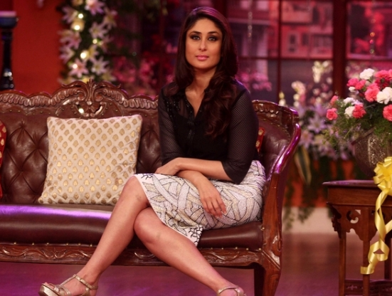 Kareena Kapoor Hot Legs in Comedy Nights with Kapil 2014 Photos - Sexy Legs Pics in White Pencil Skirt