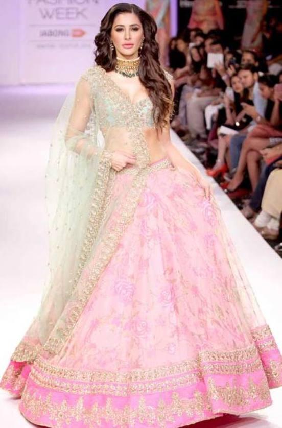 Nargis Fakhri Hot in Pink Green Choli.jpg