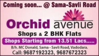 Orchid Avenue in Vadodara Shops 2 BHK Flats at Sama Savli Road Vadodara