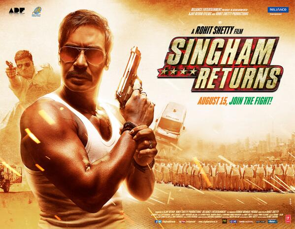 SINGHAM Returns Show Time in Gujarat Cities LATEST Timing of Singham Returns Movie Showtimes
