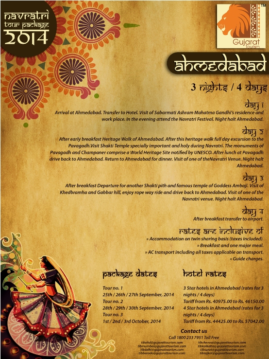 Gujarat Tourism Navratri Packages 2014 – GTDC Garba Ahmedabad Dates