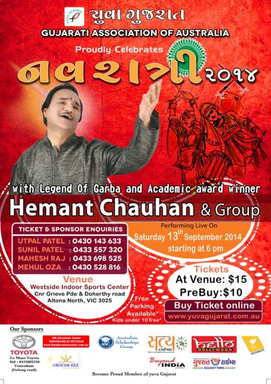 Gujarati Association of Australia celebrates Navratri 2014 with Hemant Chauhan on September