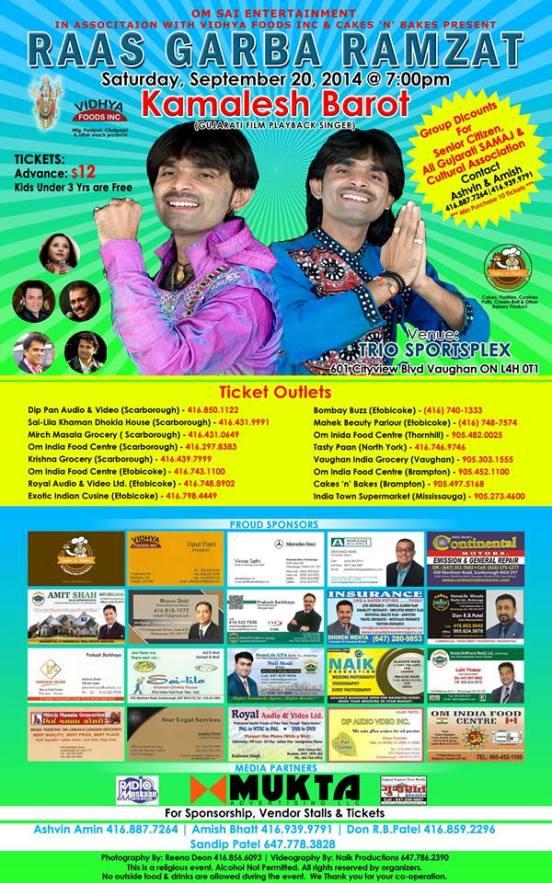 Gujarati Film Play Back Singer Kamlesh Barot Program Raas Garba Ramzat at Trio Sportsplex Canada on 20 September 2014