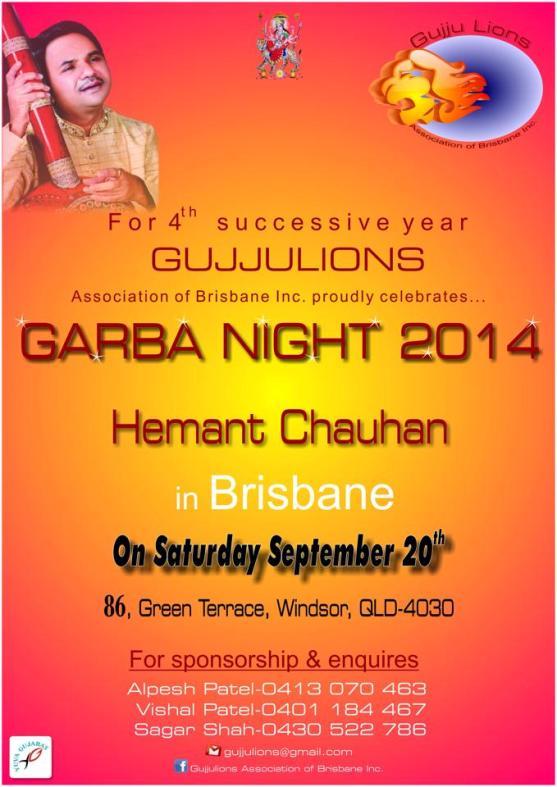 Gujju Lions Association of Brisbane Celebrate Garba Night 2014 with Hemant Chauhan