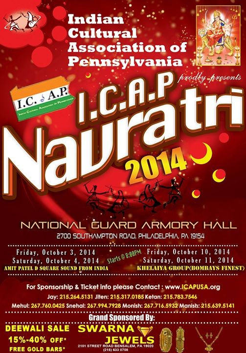 ICAP Navratri Nights Events at Pennsylvania US on October 2014