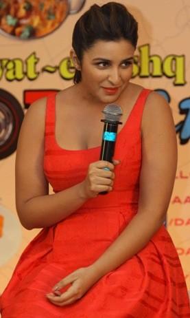 Parineeti Chopra in Hot Red Dress Promoting Daawat-e-Ishq Movie 2014 in Mumbai