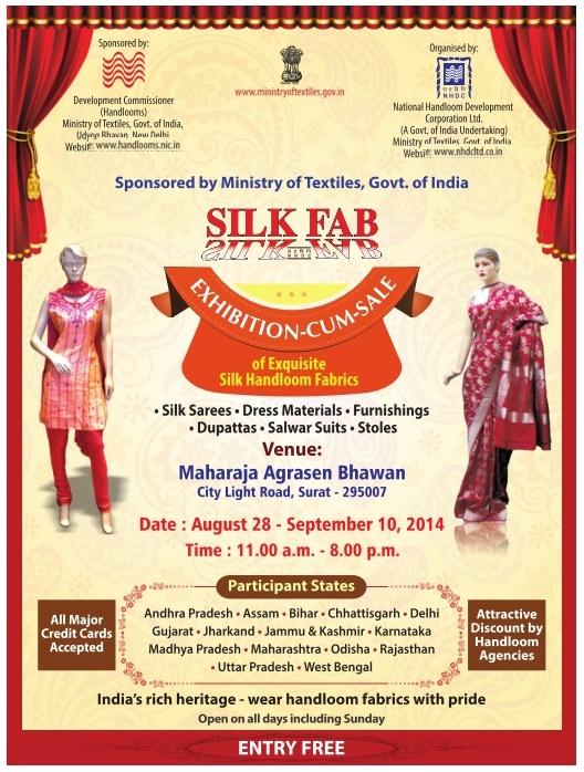 Silk Fab 2014 Surat - Exhibition for Handloom fabrics Sarees Dress Material Stoles and Salwar Suits