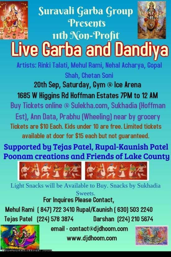 Suravali Garba Group Presents Live Garba Dandiya 2014 at Illinois USA on 20 September