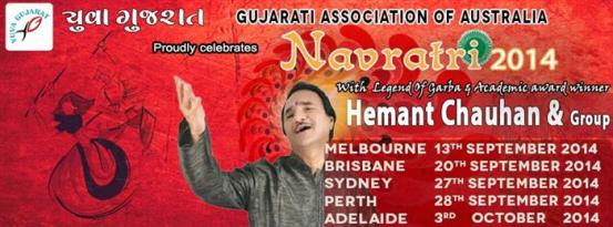 Yuva Gujarat Australia Celebrates Navratri Festival in Brisbane 2014 with Hemant Chauhan on September