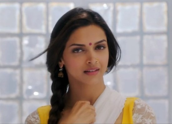 Deepika Padukone Cute Yellow Anarkali Dress in Manva Laage