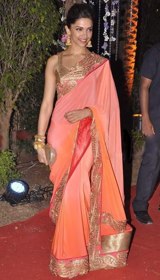 Deepika Padukone Orange Saree at Ahana Deol's Reception