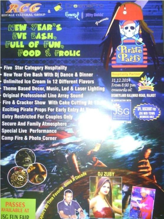 31st Pirate Party New Year Celebration at Rajkot by RCC Royale Cultural Group and DreamsPro