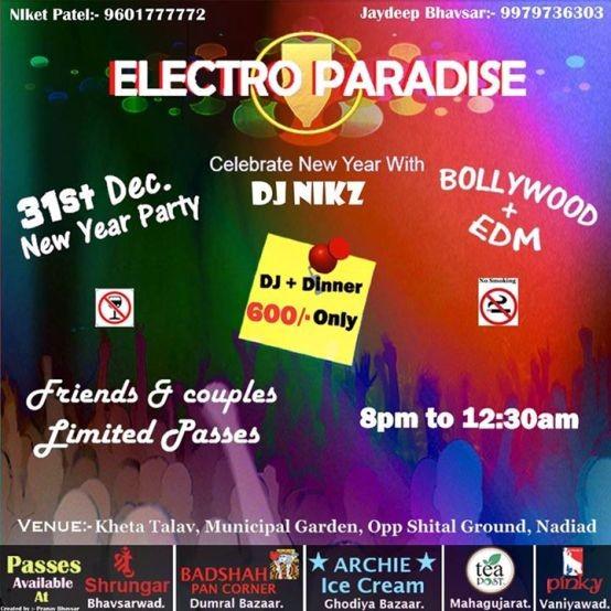 Electro Paradise 31st New Year Party Celebration 2015 in Nadiad Gujarat