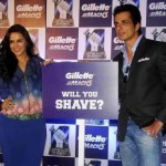 Neha Dhupia at Ahmedabad in Blue Pencil Skirt for Gillette Event with Sonu Sood