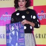 Priyanka Chopra in White Printed Skirt at Launch Grazia Magazine December 2014 Issue