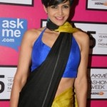 Mandira Bedi in Sleeveless Blouse & Saree During Lakme Fashion Week 2015