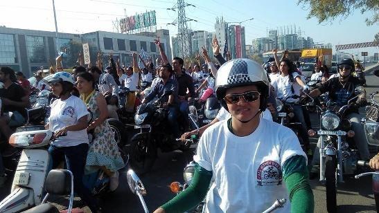 Women Bike Rally in Ahmedabad by NAV GUJARAT SAMAY for Women's Day 2015 Celebration