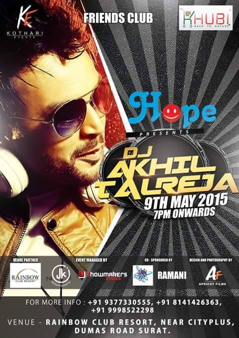 HOPE Present Musical Night Party 2015 in Surat at Rainbow Club Resort with DJ Akhil Talreja