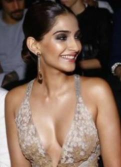 Sonam Kapoor Hot Cleavage Pics during Giorgio Armani Spring 2015