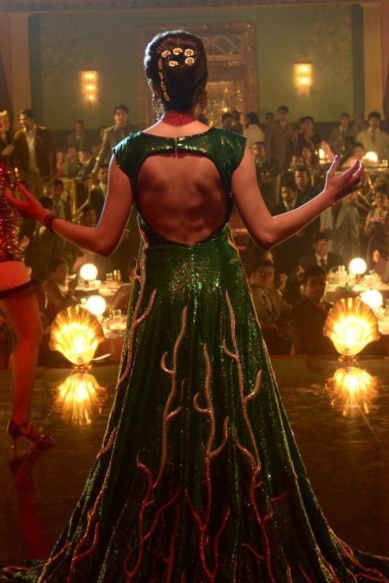 Anushka Sharma Backless Green Lehenga in Bombay Velvet.JPG
