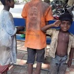Images of Poor Children in Gujarat wearing NAMO T-Shirt – BJP Narendra Modi Backside Photo T-shirt