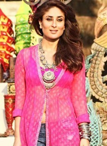 Kareena Kapoor Long Kurti in Gabbar Is Back - Hot Navel Pics in Front Cut Designer Long Kurta