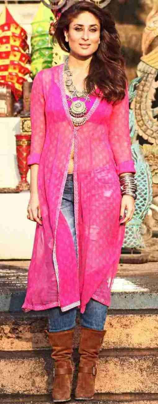 Kareena Kapoor Pink Kurti  Photos in Teri Meri Kahaani