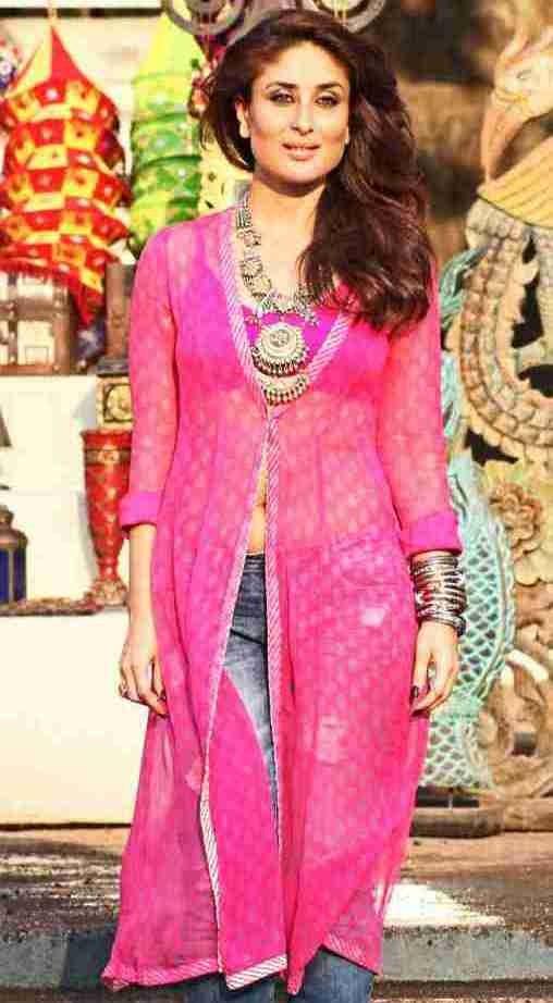 Kareena Kapoor Pink Long Kurti  in Teri Meri Kahaani