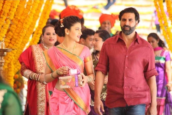 Shruthi Hasan Pink Saree Image in Gabbar is Back Movie
