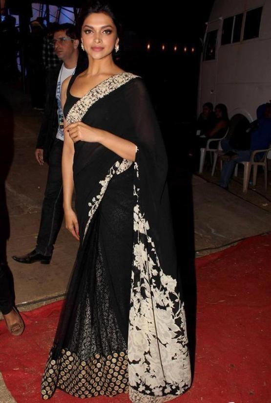 Deepika Padukone in Black Transparent Saree