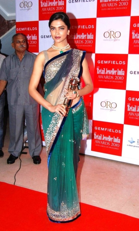 Deepika Padukone in Green Transparent Saree