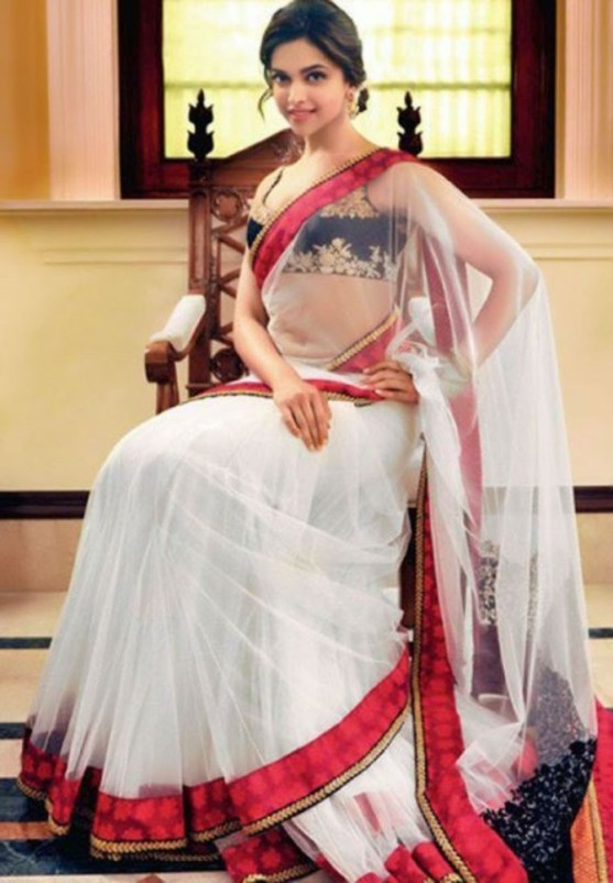 Deepika Padukone in White Transparent Lahenga Saree Blouse