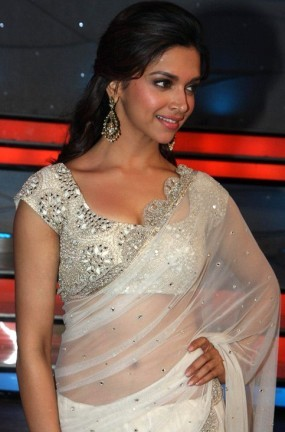 Deepika Padukone in White Transparent Saree