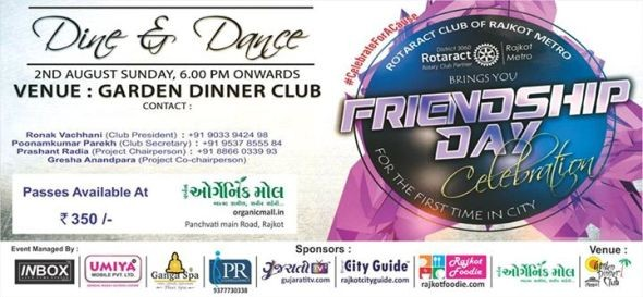 Friendship Day 2015 Party in Rajkot – Dine & Dance Friendship Day Celebration at Garden Dinner Club Rajkot